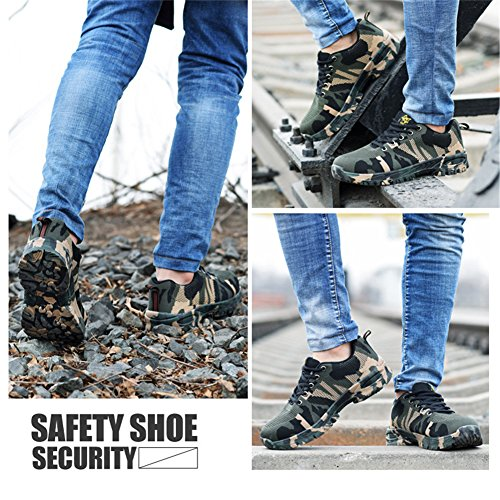 RuiSen Unisex Camouflage Labor Insurance Shoes, Work Safety Shoes Puncture Proof Safety Shoes Outdoor Shoes with Lace-up Breathable Wear-Resistant Anti-Slip (39/24.5cm) by RuiSen (Image #6)