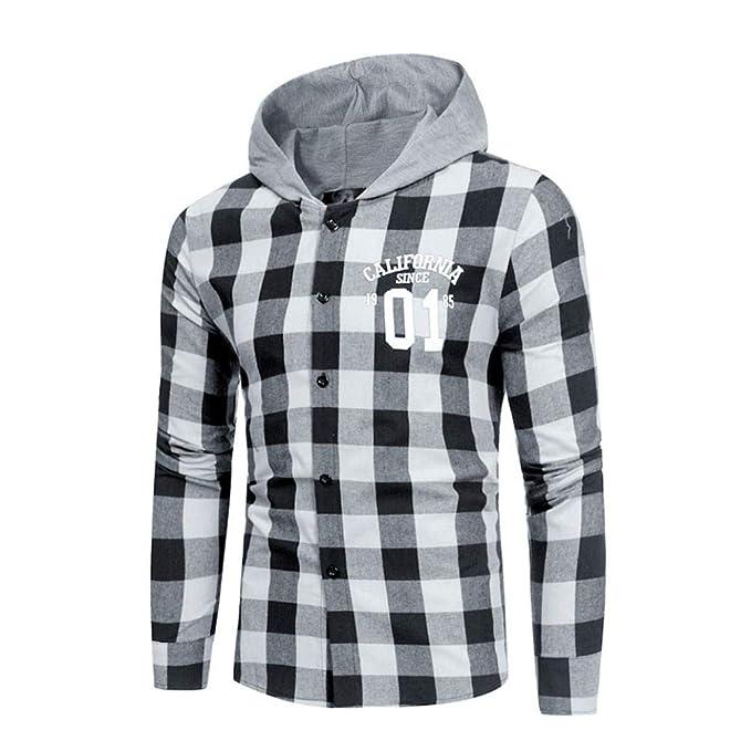 Yvelands Camisas de Pliad Camisa de Moda Moda Masculina Camisa Camisa de Manga Larga a Cuadros Casual Top Blusa Ropa Vestido de Verano de otoño: Amazon.es: ...