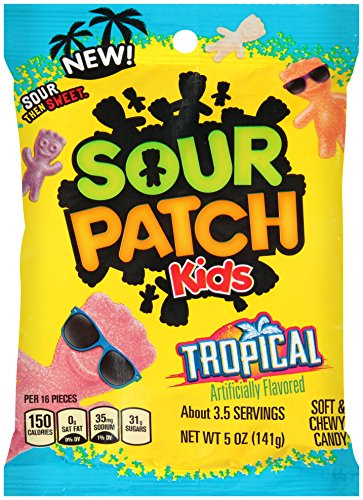 Sour Patch Kids Tropical Gummy Candy, 5 Oz Bag (Pack of (Tropical Sours)