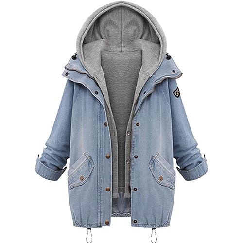 FNKDOR Nuevas mujeres de invierno cuello cálido chaqueta con capucha chaqueta de mezclilla parka Outwear