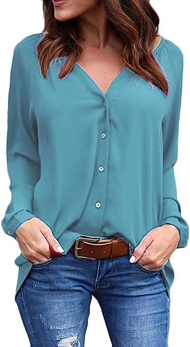 Camisa Lisa Mujer Botones Blusa Plisada de Manga Larga Suelta con Cuello en V y Talla Grande Camisas Tunica Solid Casual Oversize Azul M: Amazon.es: Ropa y accesorios