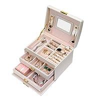 G-Tree Jewelry Box tre strati di pelle dell'organizzatore di immagazzinaggio con lo specchio cassetto e di blocco per le donne (bianco)