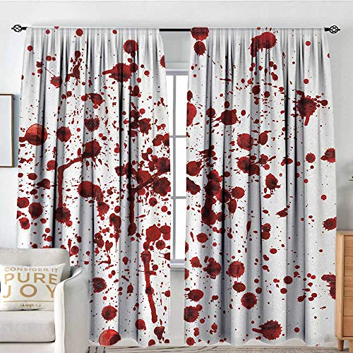 Horror BlackoutCurtains for Living Splashes of Blood Grunge Style Bloodstain Horror Scary Zombie Halloween Themed Print W96 xL173 Red White]()