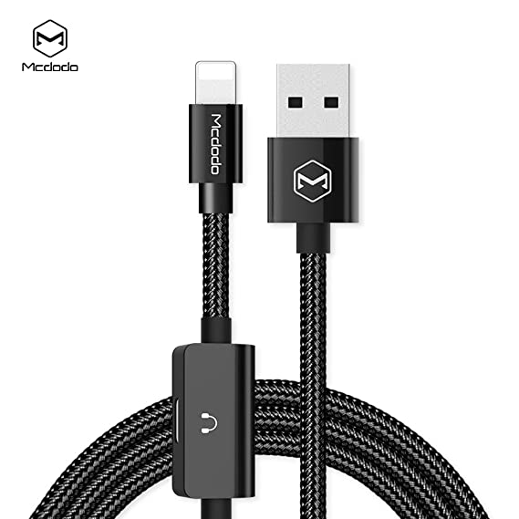 Mcdodo 2 In 1 USB AM To Lightning Audio Adapter Support Call Charging