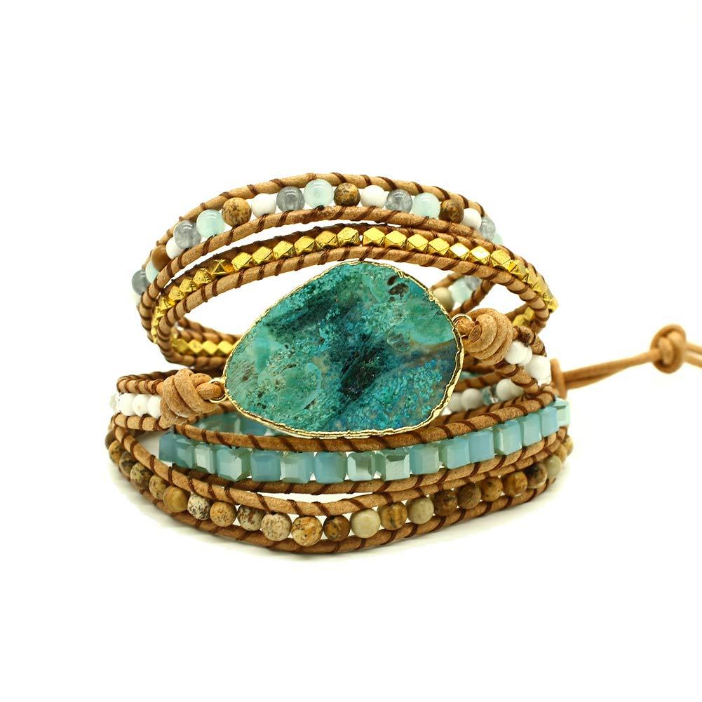 Bonnie Boho Beaded 5 Wrap Bracelets Cuff Bracelets Jasper Stone Wrap Bracelets Druzy Natural Stone Leather Wrap Bracelet