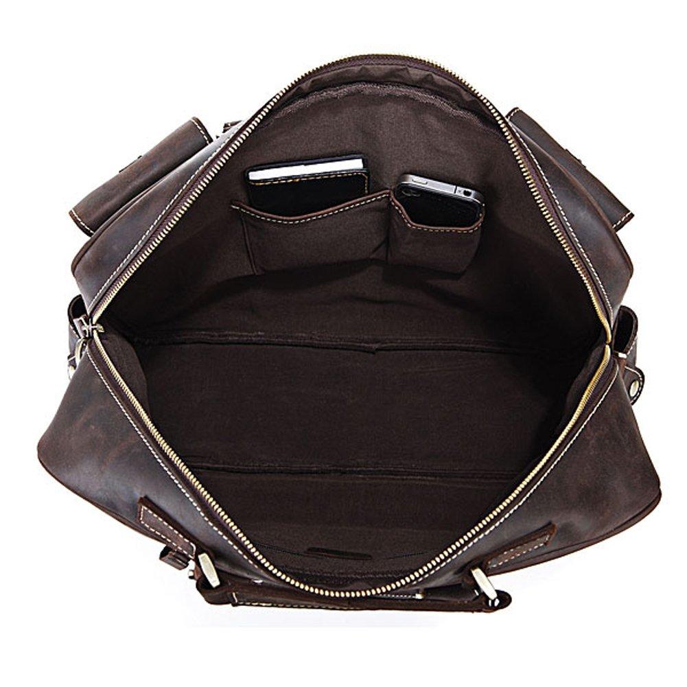 5a3bf6373bb9 YAAGLE Rare Crazy Horse Leather Men s Briefcase Laptop Bag Dispatch  Shoulder Huge Handbag (16.5