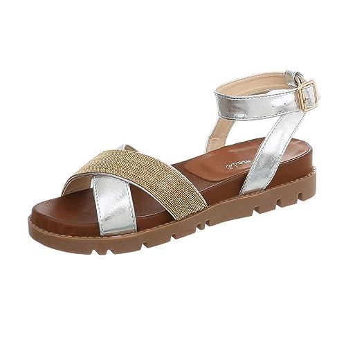 Ital-Design Riemchensandalen Damen-Schuhe Riemchen Schnalle Sandalen    Sandaletten Silber, Gr 36 5e582647e5