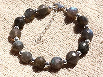 e1ff2e0c8529 Pulsera de plata de ley y piedras preciosas cuentas de labradorita 9 - 10  mm bolas facetadas  Amazon.es  Hogar