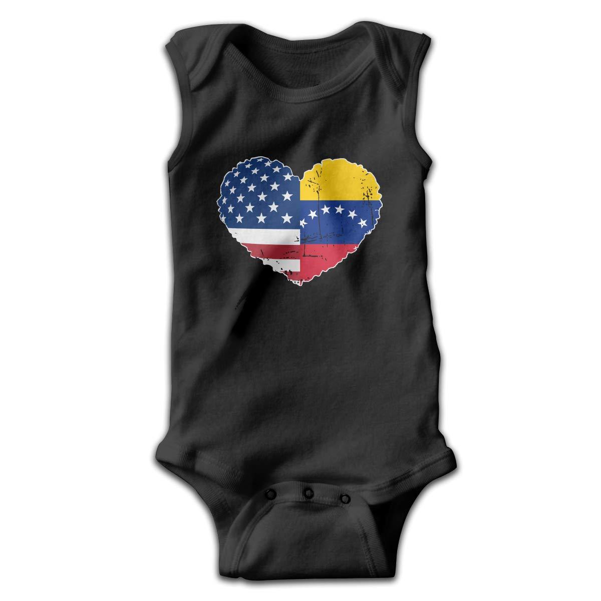 MMSSsJQ6 Venezuela USA Flag Heart Baby Newborn Crawling Clothes Sleeveless Romper Bodysuit Rompers Jumpsuit