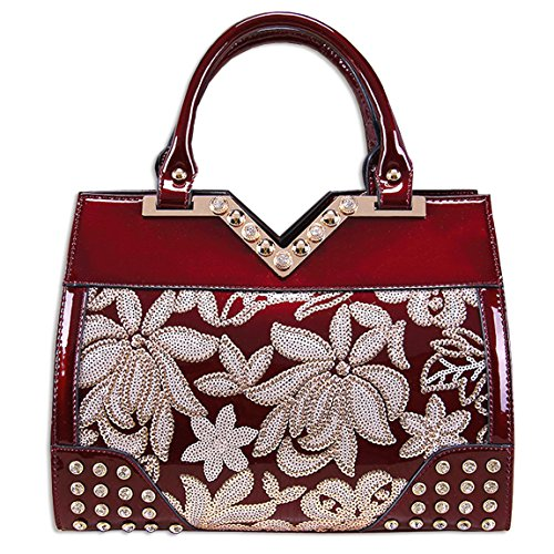 KAXIDY Flowers Handbags Patent Leather Embroidery Lace Handbag Shouder Bags (Wine-red) by KAXIDY