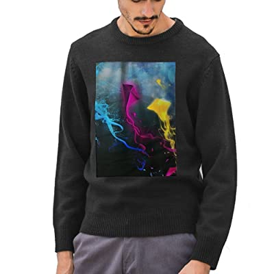 Mr.Roadman Men's Colourful Kite Pattern DIY Customized Print Casual Long Sleeve Sweater Jumpers Pullover