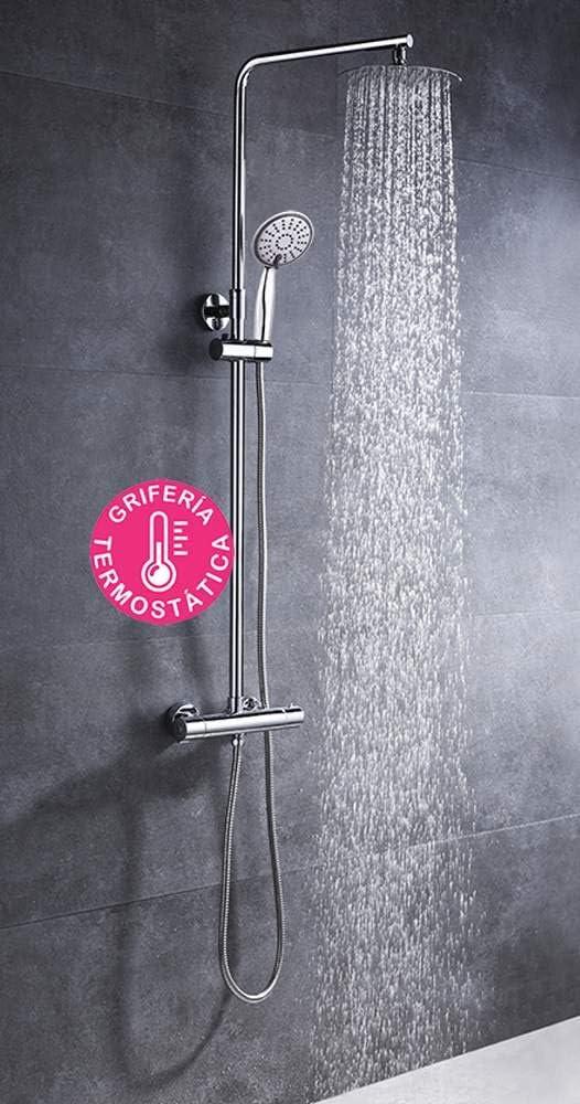 Columna de ducha extralarga redonda extensible de 100 a 150 cm. y ...