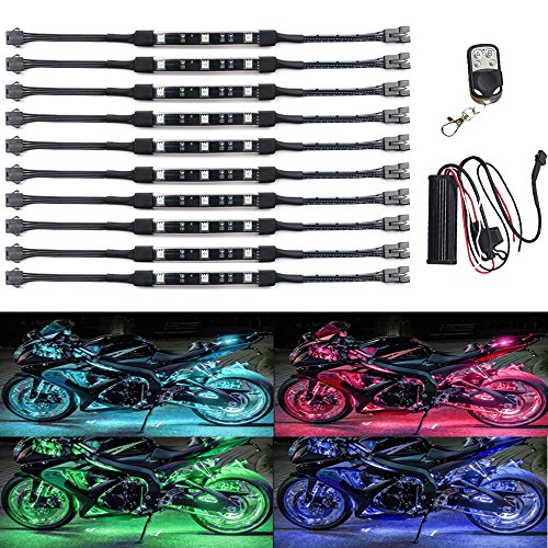 (NBWDY 10Pcs Led Light Kits Multi-Color Wireless Remote Control Motorcycle Atmosphere Lamp RGB Flexible Strips Ground Effect Light for Motorcycle)