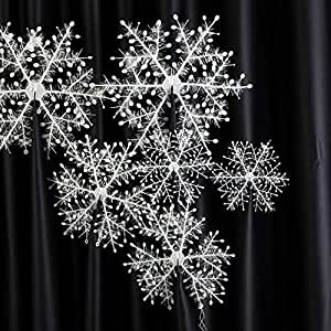 3D Snowflakes Hanging Ornaments Stereoscopic Snow as Tree Decor Accessories