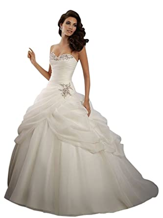 964e818a817c4 Griffith Nancy White Ivory Wedding Dress Bridal Gown Stock Size 2 4 6 8 10  12 14 16 18 20 at Amazon Women s Clothing store