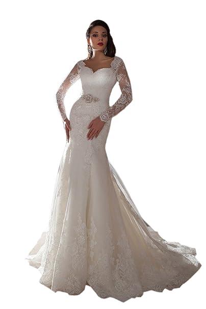 Engerla Mujeres Illusion mangas largas de encaje sirena vestido de novia con marco de cuentas: Amazon.es: Ropa y accesorios