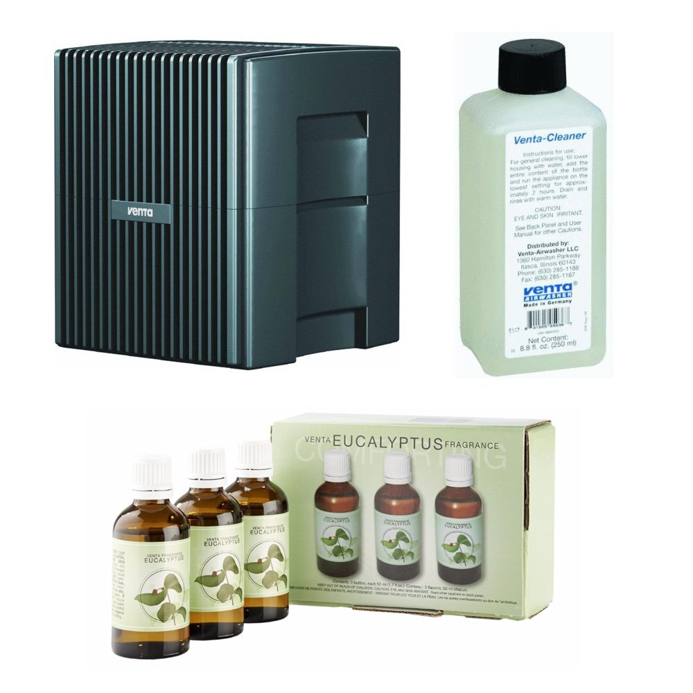 Venta LW25G Humidifier & Airwasher Charcoal Gray Metallic withVenta Airwasher Eucalyptus Fragrance and Venta Airwasher 6001040 Venta Airwasher Cleaning Solution, 8-oz Bundle
