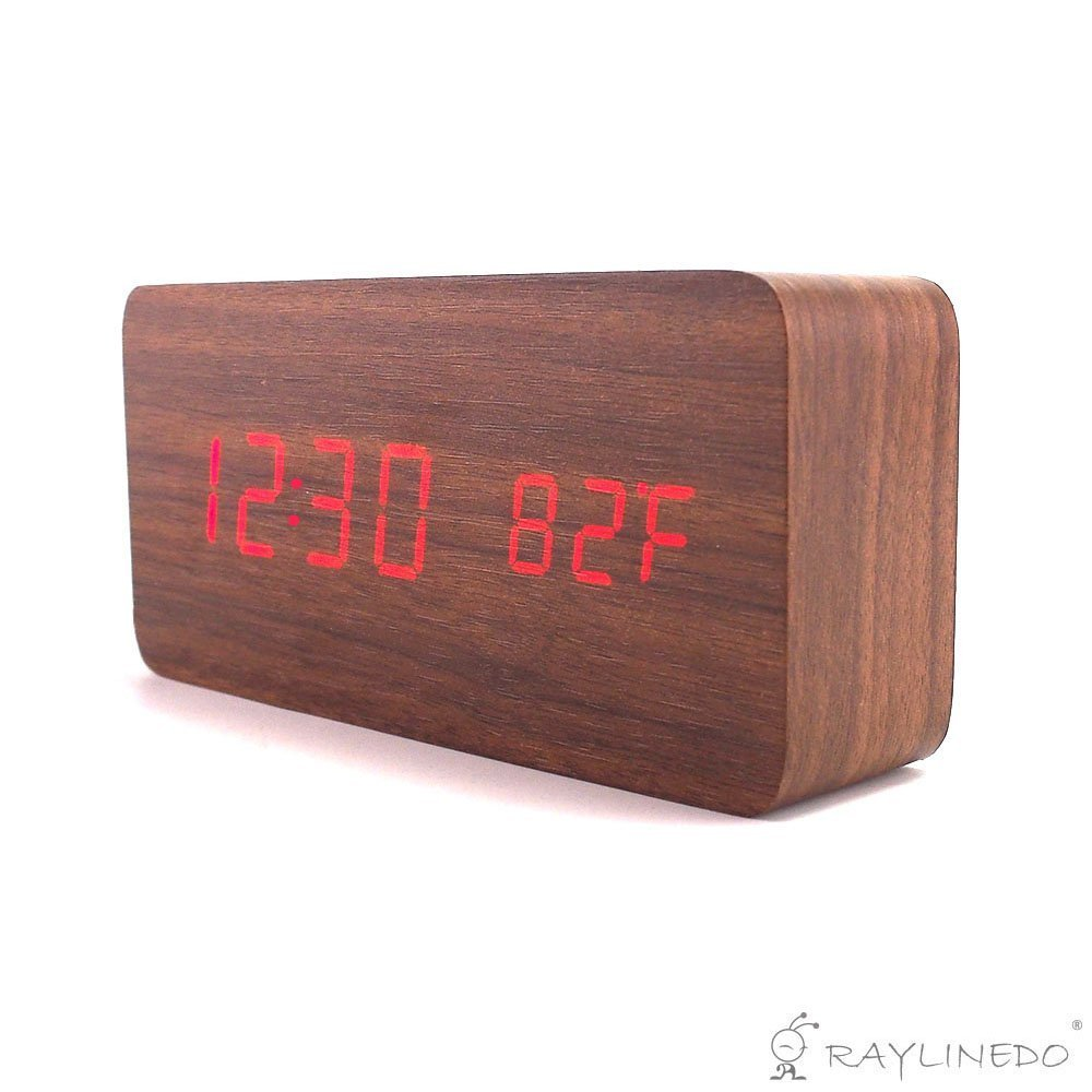 Amazon.com: RayLineDo Latest Design Fashion USB/AAA Brown Wood Red LED Light Wooden Digital Alarm Clock -Time Temperature Date Display - Voice and Touch ...