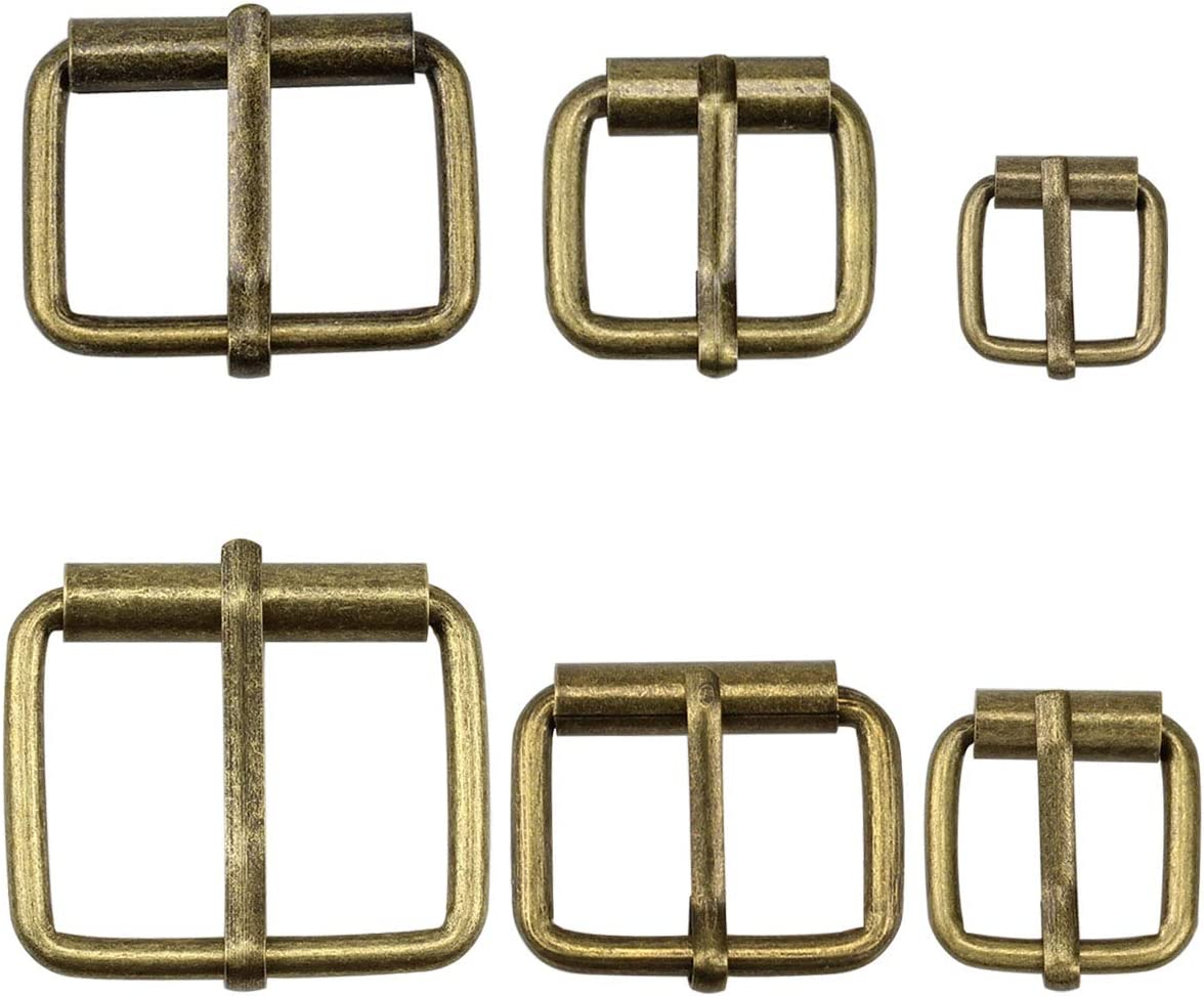 "Hysagtek Brass Buckles 60 Pcs Roller Buckles Belts Hardware Pin Buckle for Bags Leather Belt Strap Hand DIY Accessories, 6 Size - 1.3'', 1.18"", 1"", 0.79"", 0.67"", 0.51"" Bronze Metal"