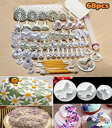68pcs Cake Decoration Tools Set Fondant Decorating Molds Cutters Marzipan Icing Cakes Flower Mould Sugarcraft Paste Plunger Spatula with Rolling Pin Smoother for Wedding Birthday