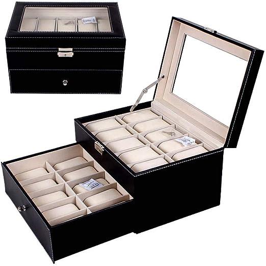 GOVD Caja Guardar Relojes con Tapa de Cristal Estuche Relojes para ...
