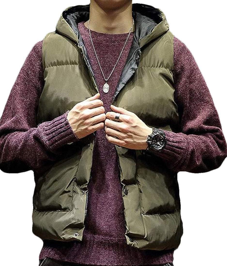 WSPLYSPJY Mens Warm Snap Button Down Puffer Down Vest Top