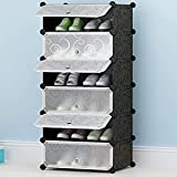 Aysis Plastic Shoe Rack with Cover for Home/Office Cube Organizer Wardrobe Black (6 Cube Black)