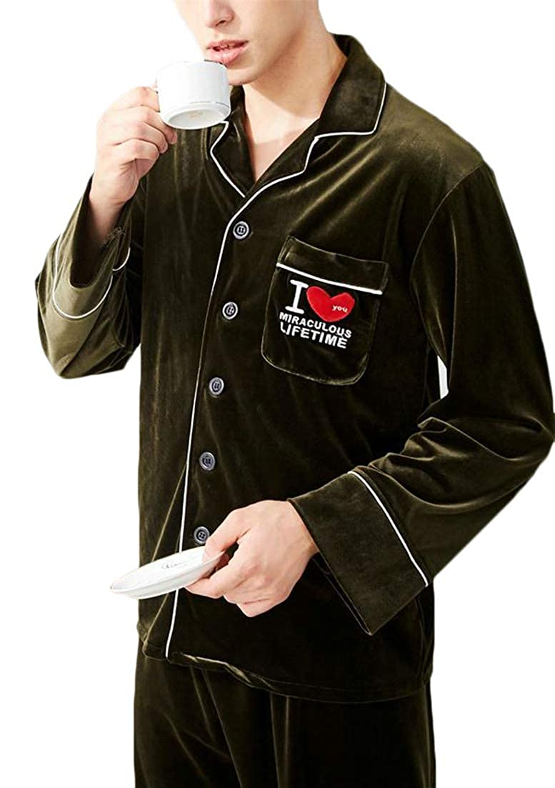 Macondoo Men Long Sleeve Autumn Winter 2 Piece Velvet Loungewear Button Down Sleepwear Pajama Set