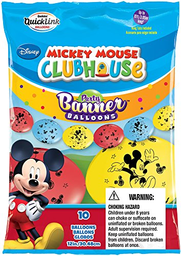 Party Banner Balloons 10 Count Mickey Mouse QuickLink Banner Balloons, (Mickey Mouse Baloons)