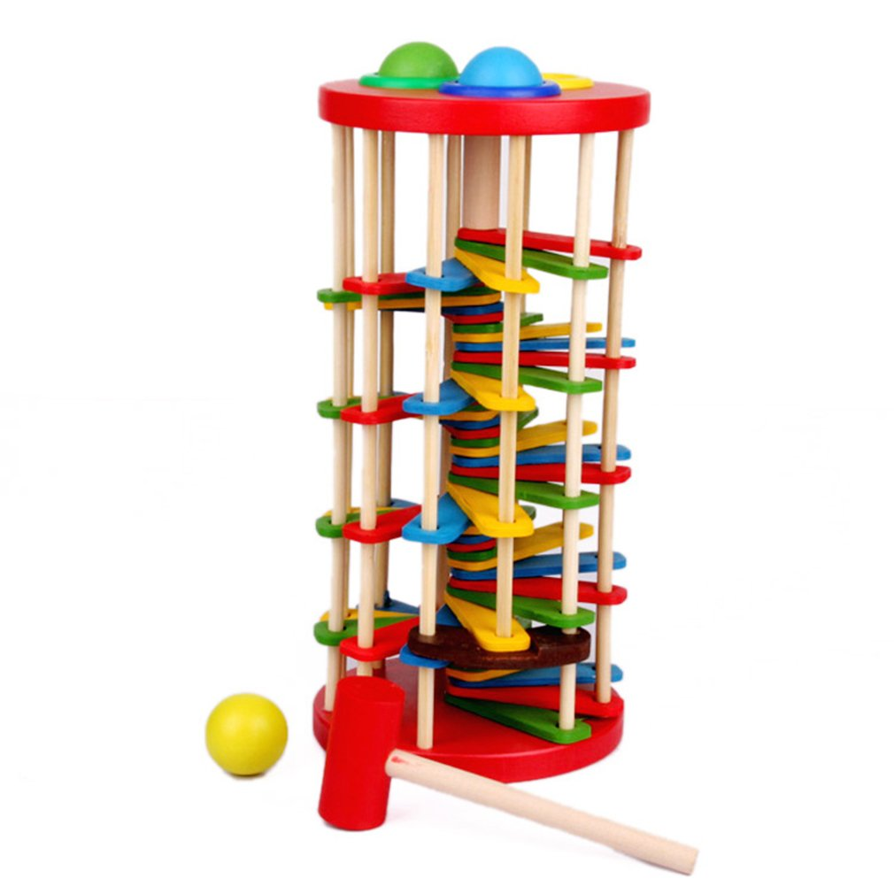 Hemore Knock The Ball Falls Ladder Toys Wooden Fancy Table Rolling Ball Ladder Baby Products Health Baby Care