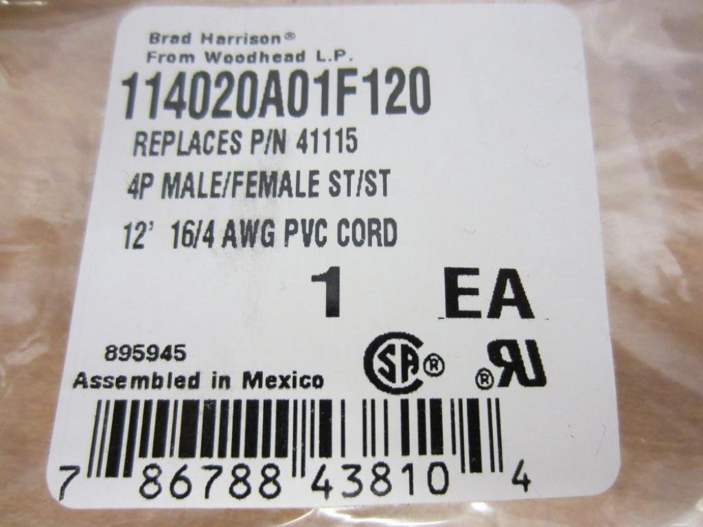 4-Pole 114020A01 F120 Brad Harrison 114020A01 F120 Double-Ended Cordset