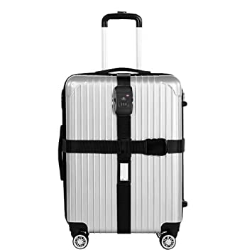 Correa Equipaje-Nylon Resistente/Candado de Combinación TSA-Correas para Viajes Seguros Negro: Amazon.es: Equipaje