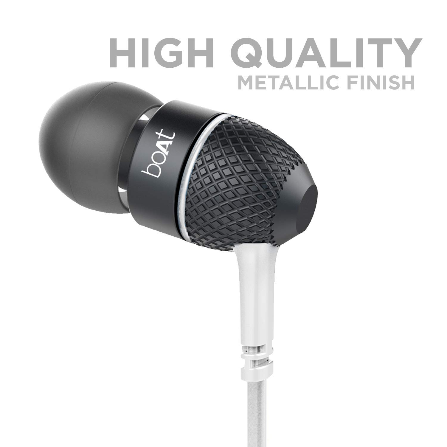 boAt BassHeads 225 in-Ear Wired Earphones with Super Extra Bass, Metallic Finish, Tangle-Free Cable and Gold Plated Angled Jack (Frosty White)