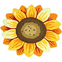 KEPSWET Fashion Cartoon Sunflower Mats Bedroom Bedside Rugs Living Room Rugs Bathroom Non-Slip Mats Baby Room Carpets Door Mats Foot Mats (23x20, flower)