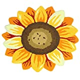 KEPSWET Fashion Cartoon Sunflower Mats Bedroom Bedside Rugs Living Room Rugs Bathroom Non-Slip Mats Baby Room Carpets Door Mats Foot Mats (2'3×2'0, flower)
