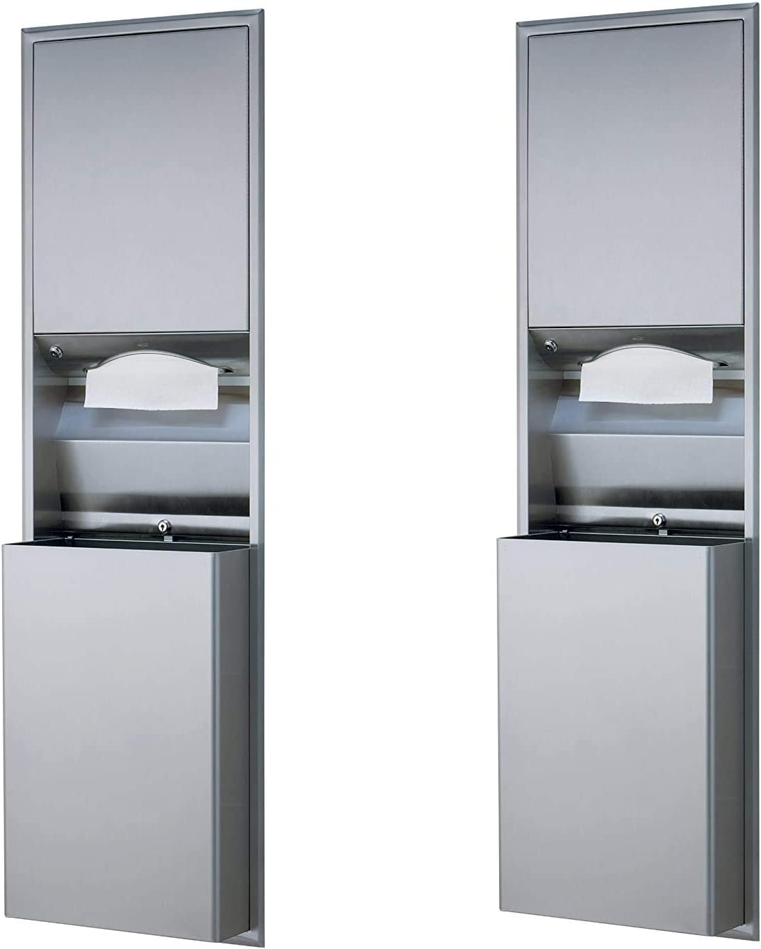 Satin Finish Pack of 2 Bobrick 3944 ClassicSeries Stainless Steel Recessed Convertible Paper Towel Dispenser//Waste Receptacle 12 Gallon Capacity 17-3//16 Width x 56 Height
