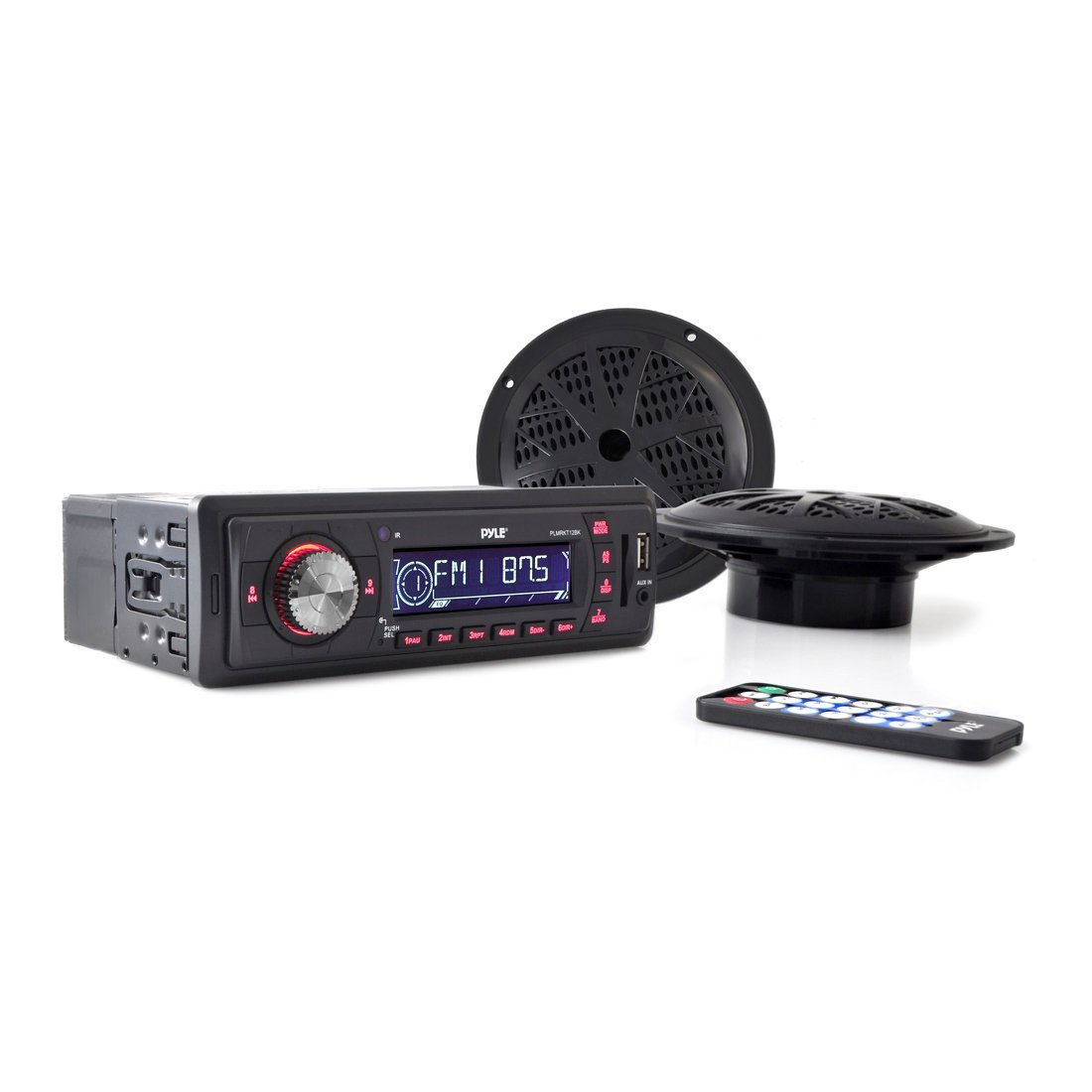 Marine Headunit Receiver Speaker Kit - In-Dash LCD Digital Stereo w/AM FM Radio System 5.25'' Waterproof Cone Speakers (2) MP3/USB/SD Readers Aux Input Single DIN & Remote Control - Pyle PLMRKT12BK