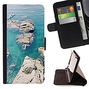 For Samsung Galaxy S6 Lagoon Rocks Canoe Blue Sea Ocean Style PU Leather Case Wallet Flip Stand Flap Closure Cover