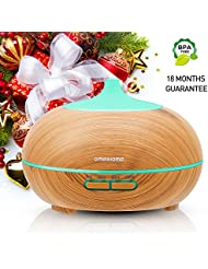 Ominihome Essential Oil Diffuser 300ml Cool Mist Humidifier Ultrasonic Aroma Diffuser, Waterless Auto Off, Wood Grain, Brightness Adujstable, Christmas, New Year Gift (shallow wood grain)