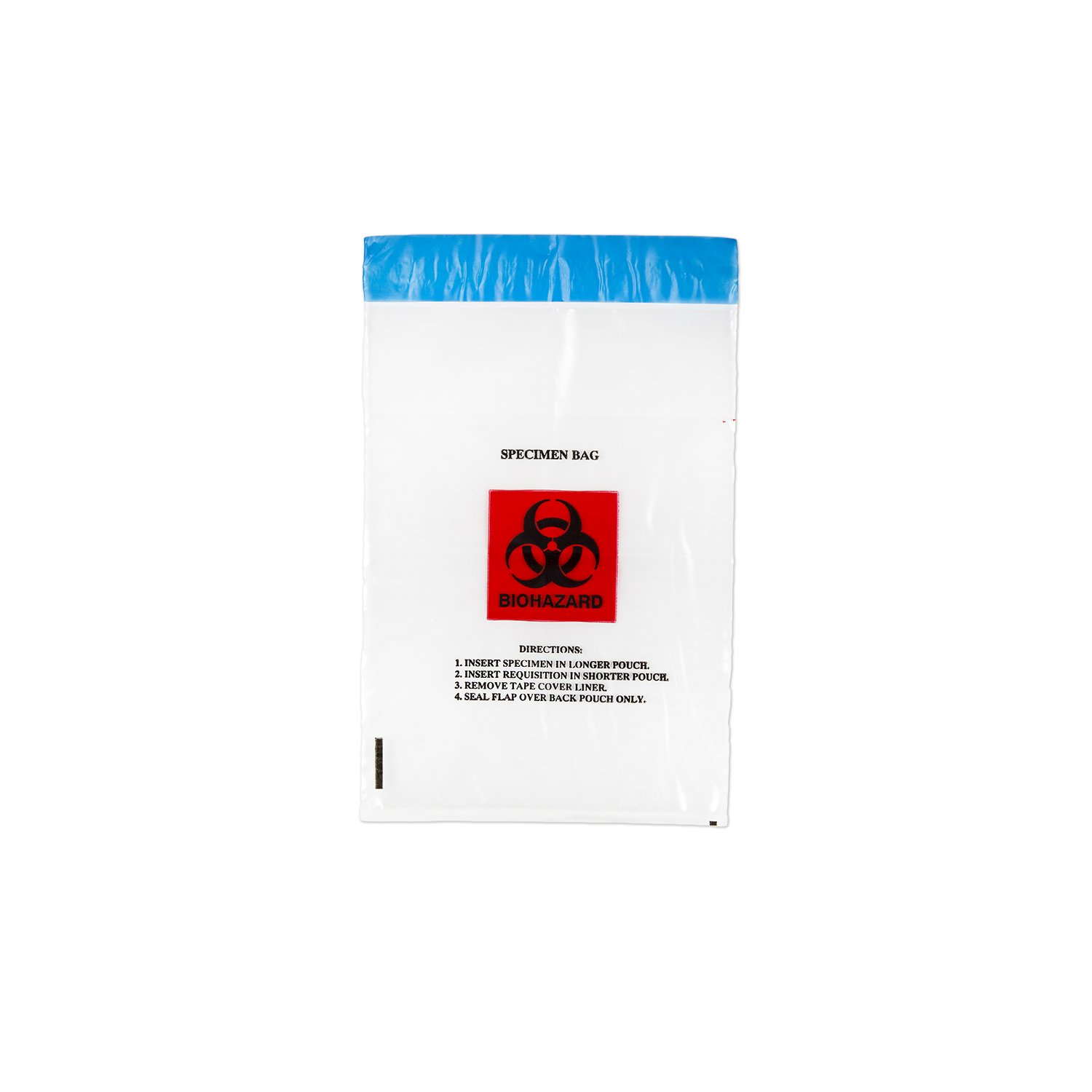 Medegen Medical Products 4065 Lab Specimen Transport Bags, Tamper Evident, Permanent Adhesive Closure with Pouch, Flap, 6'' x 10'', LLDPE, Clear/Black/Red (Pack of 1000)