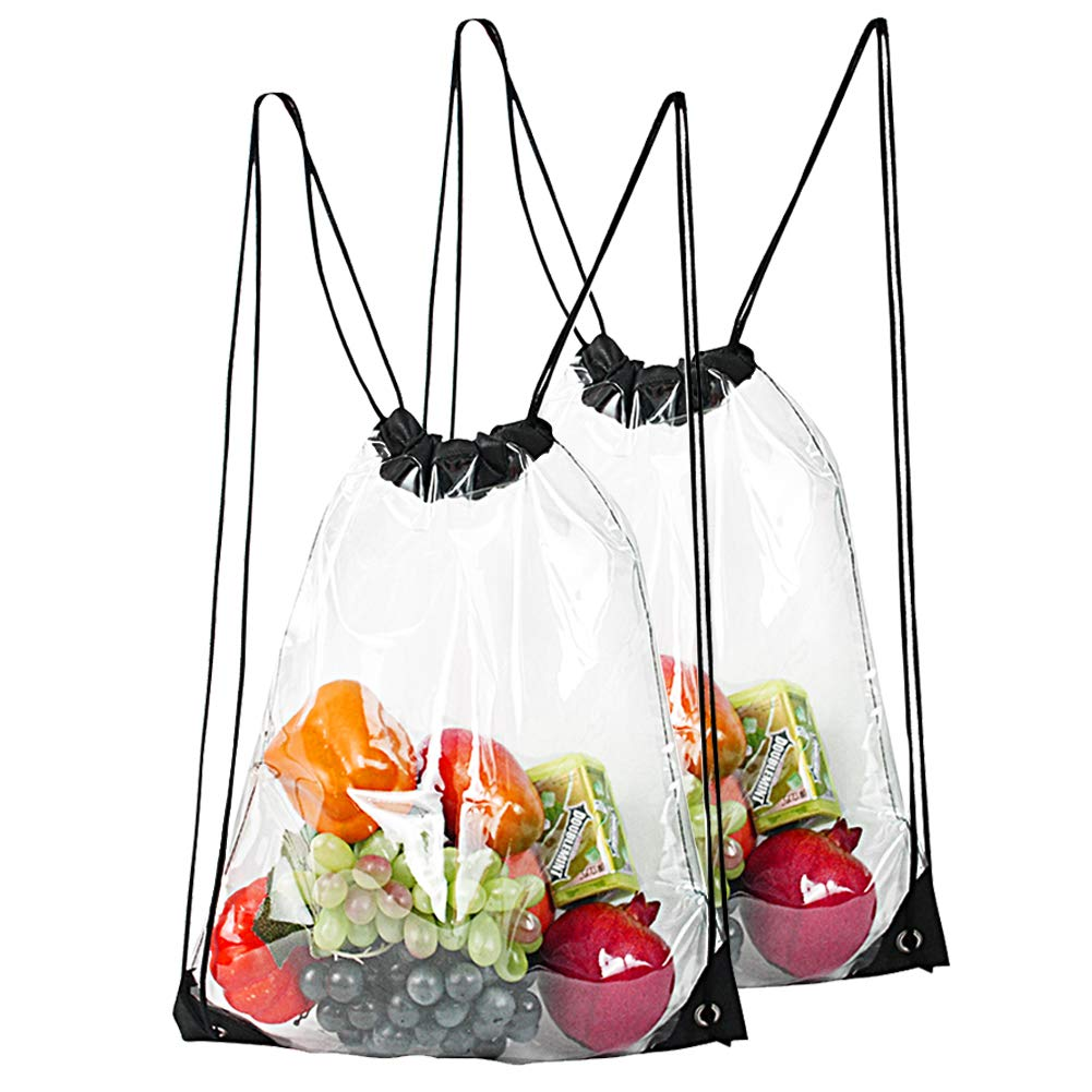 2-Pack Clear Drawstring Backpack,Waterproof Drawstring Bag for Women and Men School Sport Gym