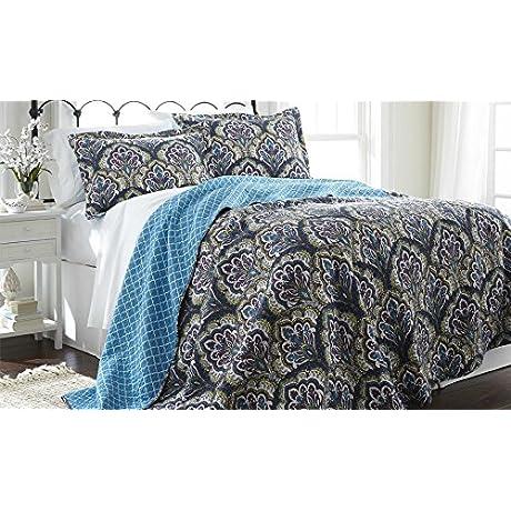 Amrapur Overseas Carly 100 Cotton 3 Piece Reversible Quilt Set Purple Deep Aqua Full Queen