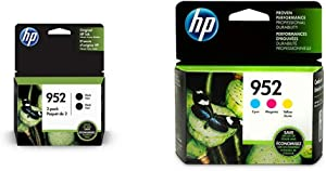 HP 952 Black, Cyan, Magenta, Yellow Ink Cartridges (L0S49AN, L0S52AN, L0S55A, 3YP21AN) 5 Cartridge Bundle