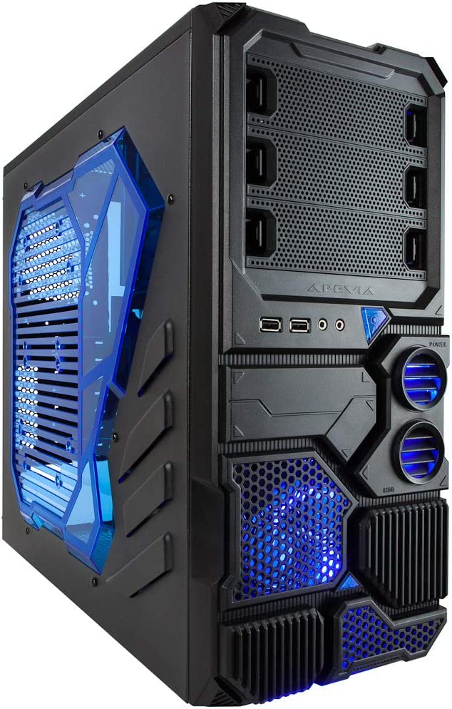 Apevia X-SNIPER2-BL ATX Mid Tower Gaming Case with Large Blue Side Window, 1 x 120mm Blue LED Fan, Front USB3.0/Audio Ports, up to 8 x Cooling Fan Space - Blue