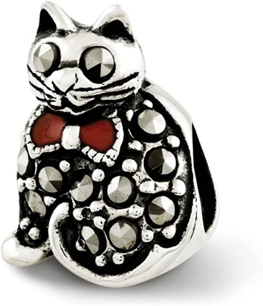 Reflections Sterling Silver Marcasite /& Enameled Cat Bead