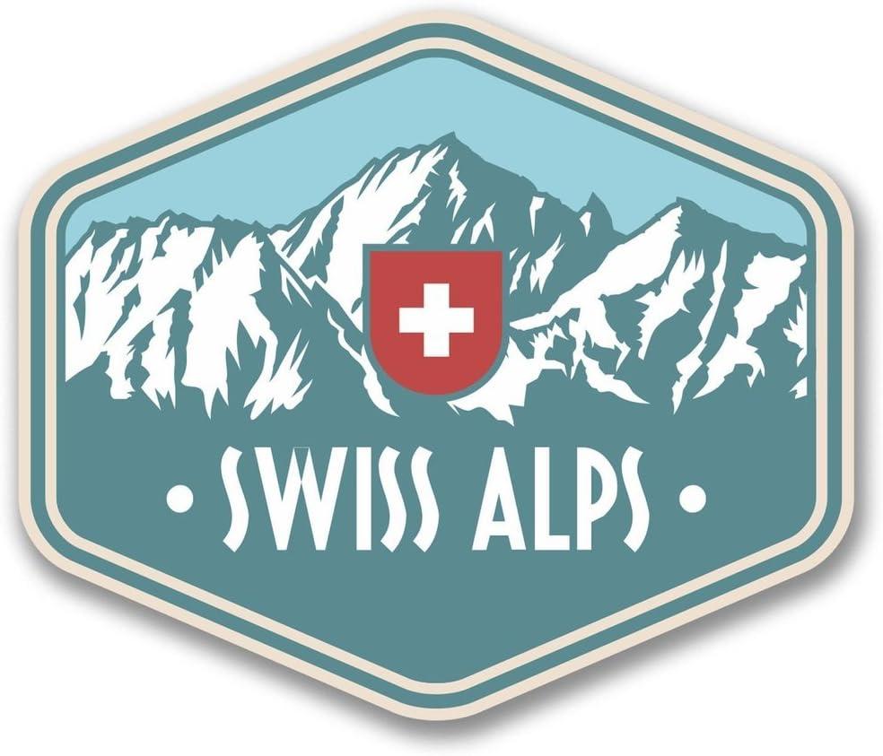 2 x 10cm/100mm Swiss Alps Switzerland Vinyl SELF Adhesive Sticker Decal Laptop Travel Luggage Car iPad Sign Fun #6389