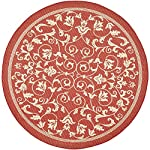"Safavieh Courtyard Collection CY2098-3707 Red and Natural Indoor/ Outdoor Round Area Rug (67"" Diameter)"