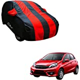 Autofurnish Stylish Red Stripe Car Body Cover for Honda Brio - Arc Red Blue