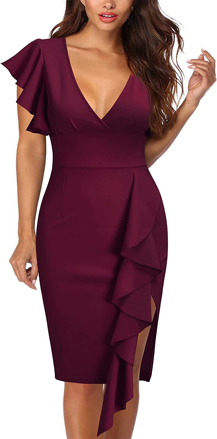 Knitee Women's Deep-V Neck Ruffle Sleeves Cocktail Party Pencil Slit Formal Dress