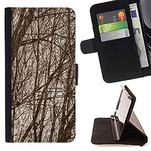 """For Motorola Moto E ( 1st Generation ),S-type Ramas de árboles de otoño Bosque"""" - Dibujo PU billetera de cuero Funda Case Caso de la piel de la bolsa protectora"""